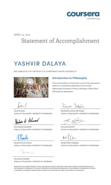 Introduction to Philosophy Course - Statement of Accomplishment